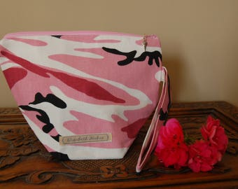 Pink Camo Knitting Project bag, small