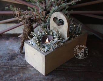 Cutlery Box - Primitive Heart Handle - Farmhouse White