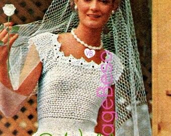 Wedding Dress Crochet Pattern • 1970s Vintage Hooded Jacket Crochet Pattern • Instant Download • DIY Retro Wedding Gown Crochet Pattern PDF