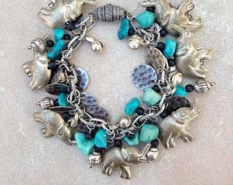 Silver Elephant ,Turquoise Charm Bracelet