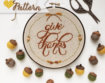 Give Thanks digital hand-embroidery pattern