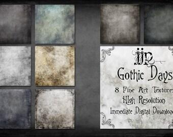 Gothic Days - Fine Art Photoshop Textures + Free Bonus Rain Overlay. High Resolution Instant Digital Download.