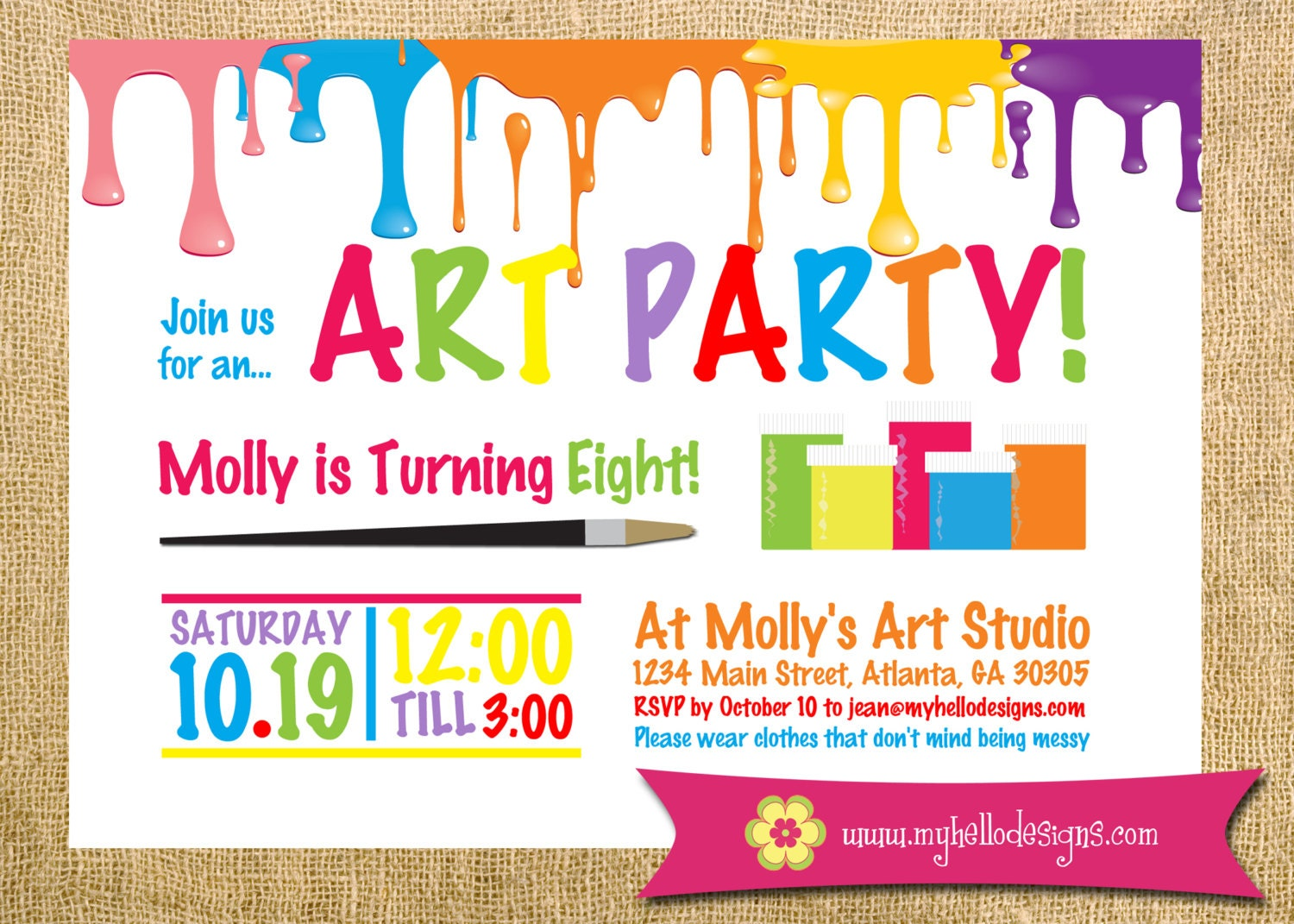 Printable Art Party Invitation Paint Drips Party Birthday