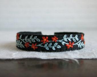 Boho Floral Bracelet, Embroidered Bracelet, Boho Cuff Bracelet, Floral Cuff Bracelet