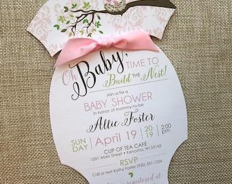 Baby Love Birds Shower Invitation, Onesie Baby Shower Invite, Pink Baby Bird Nest Shower Invitation, Spring Baby Shower, Pink Damask Invite