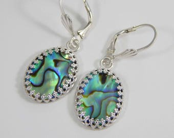 Paua Shell Earrings. Abalone Earrings. Paua Shell Dangle Earrings. Paua Shell Earrings. Iridescent. Gift for Her.