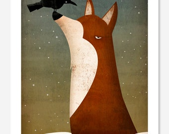 The Fox and the Crow LOVE winter Graphic ART print   SIGNED by Ryan Fowler
