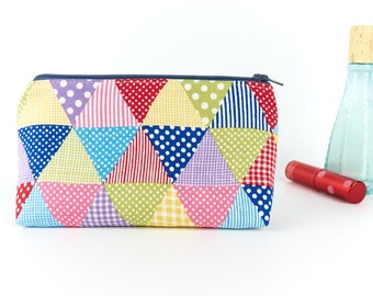 Small Makeup Bag Linen Cosmetic Pouch Multi Coloured Zipper Pouch Small Toiletry Bag Gift for Her