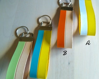 Leather keychain, color keychains on leather.