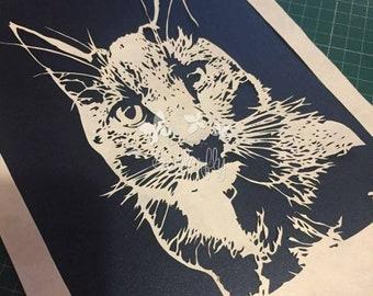 Watching Cat - Hand cut Paper Cut