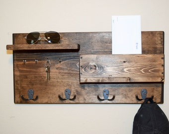 Entryway Storage Rack Key Hook Mail Storage Rustic Wood