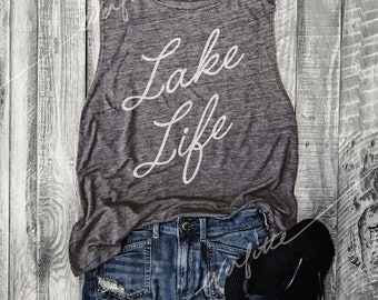 LAKE LIFE...Muscle Tee in Asphalt/White Workout Top, Muscle Tank, Graphic Muscle Tee, Lake Life, Lake mode, Tipsy, VAcation,Runs Small
