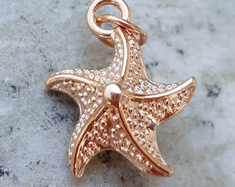 Rose Gold starfish charms pendants, rose gold charms, pink gold starfish charms, sealife ocean beach lovers charms, mothers day gifts