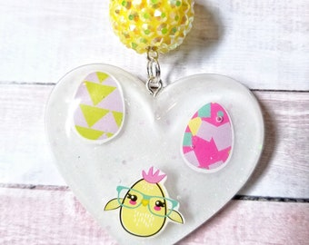 Easter Chick Resin Keychain