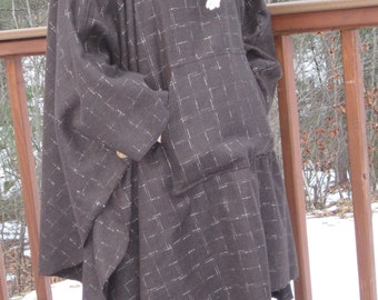 Brown Wool Plaid Cowl Necked Flannel Poncho/Cape