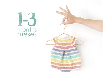Size 1-3 months- Rainbow Romper PDF Knitting Pattern- Instant Download