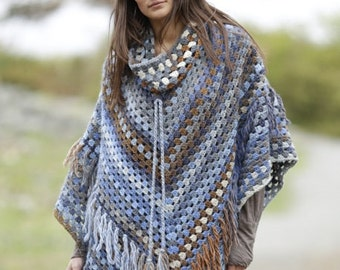 Gaucho Poncho with removable collar and fringes, wool poncho, crochet poncho, handmade poncho, knit poncho, granny stitches