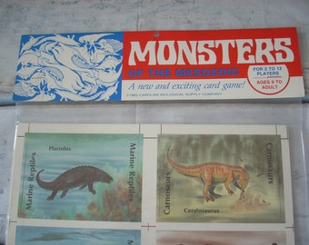 DINOSAURS Card Game / Monsters of Mesozoic Marine Reptiles Birds / Paleontology / 1983 Vintage Sealed / Memory Dash Rummy / Ages 9 to Adult
