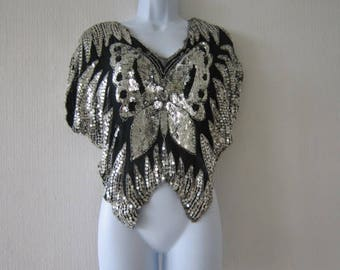 80's Black Silver Butterfly Top