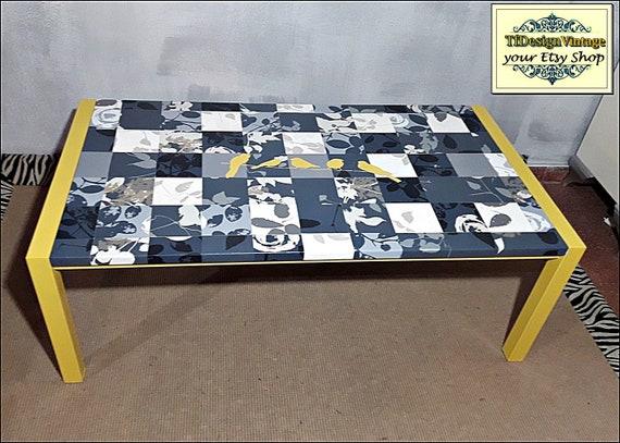 Mesa de centro moderna, Muebles estilo nórdico, Mesa salón, Mesa centro nórdica, Mesa centro mosaico, Mesa centro rectangular, Patchwork
