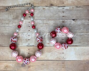 Valentines Pink and Red Chunky Necklace, Toddler Valentines Chunky Necklace, Pink and Red Toddler Necklace, Pink and Red Chunky Necklace