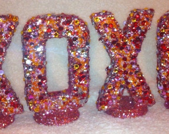 Jeweled Letters with jewels, crystals, glitter, beads, etc.  Very glittery.  Birthday Parties, Dessert Table, Wedding, Bridal Shower, photos