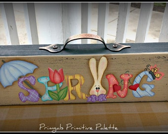 Primitive Wood Long Spring Shelf Sitter Block-Handle-Home Decor