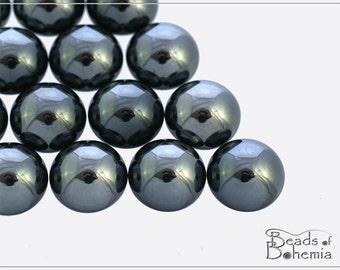 4 pcs Metallic Hematite Czech Glass Cabochon 12 mm (10316)