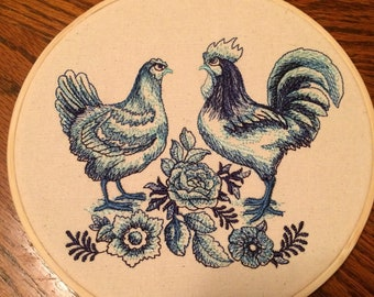 Blue Rooster and Hen