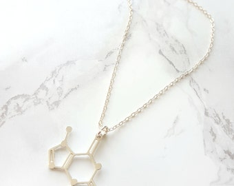Chocolate Molecule Necklace, Chocolate Gift, Foodie Gift, Chemistry Necklace, Student Gift, Science Necklace, Science Lover,silver chocolate