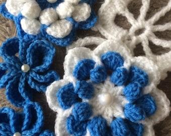 Crochet Flowers.Handmade Crochet Flowers Applications.Flowers art.