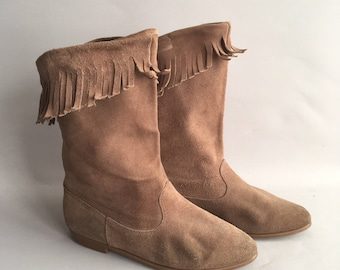 Vintage suede pixie ankle boots with tassel fringing Size 5 uk  more like 4.5 / 38