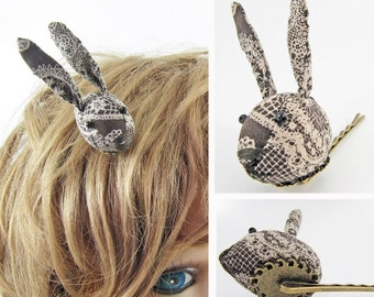MADE-TO-ORDER ( 1 - 2 Weeks) - Bunny Hair Clip-Brown Lace print