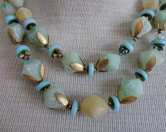 VINTAGE 1960s mint and gold two strand BEADED NECKLACE - deauville