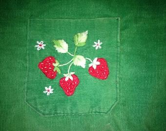 POCKET OF STRAWBERRIES Beginner Level Crewel Embroidery