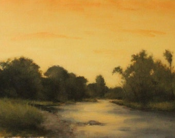 Landscape oil painting, Sunset painting, River painting, Twilight painting, Fine art, Realist painting, Tree & sky, Impressionist painting,