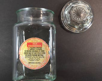 Glass Candy Jar Large Clear Glass Canister With Lid Old Fashioned Candy Sticks Paper Label Display General Store Photo Prop