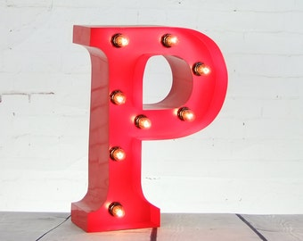 "15""/ 38cm Mains Powered Vintage Marquee Letter Light - Letter P - Floor Light - Letter Prop/Display - Available in Rusty or Red"