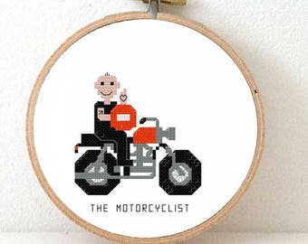 2 x motorcyclist cross stitch pattern.  Motorbike gifts. modern gift for a motor biker. Gift for him and her.