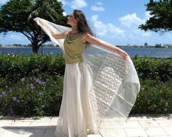 Indian Bridal Set / Wedding outfit / Bridal Skirt Shawl Veil / Indian Skirt and Shawl / fits S-M