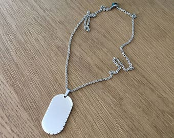 """Stainless Steel Mirror Finish Reflective Scalloped Dog Tag Long 26"""" Necklace on Faceted Stainless Steel Chain"""