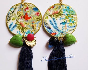 Earrings birds, clock and stones.