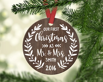 Wedding Gift First Christmas Ornament Married Wedding Gift for Couple Wedding Ornament Christmas Ornaments Personalized Mr Mrs Ornament Name