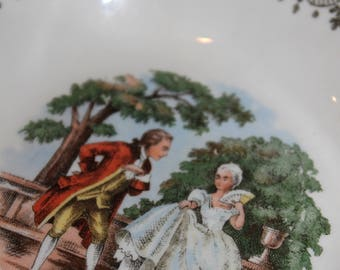 Small Sabin bowl and saucer with courting couple and gold filigree pattern