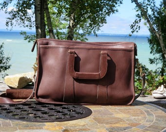Dads Grads Sale Coach Embassy Briefcase In Mahogany Leather With Adjustable Detachable Strap - Style No 5282 - Made In United States- VGC