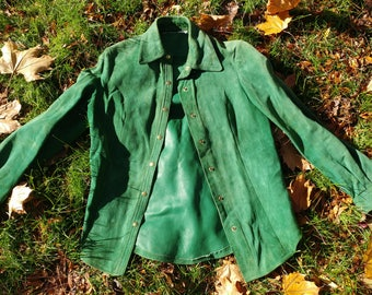 Vintage Green Women's Small Suede Jacket