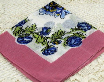 Vintage Hankie 1950s Traditional Pink Blue T42