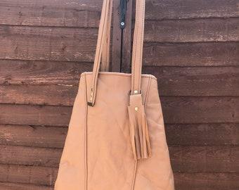Tan Leather tote ,leather bag ,leather tote ,leather shoulder bag ,leather handbag ready to ship