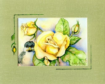 ENHANCED MAT-PRINT; chickadee and yellow roses, hand painted on mat, 8 x 10 inch pale green mat, wall art, original print
