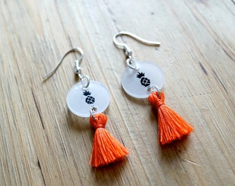 Earring, tassel and pineapple orange
